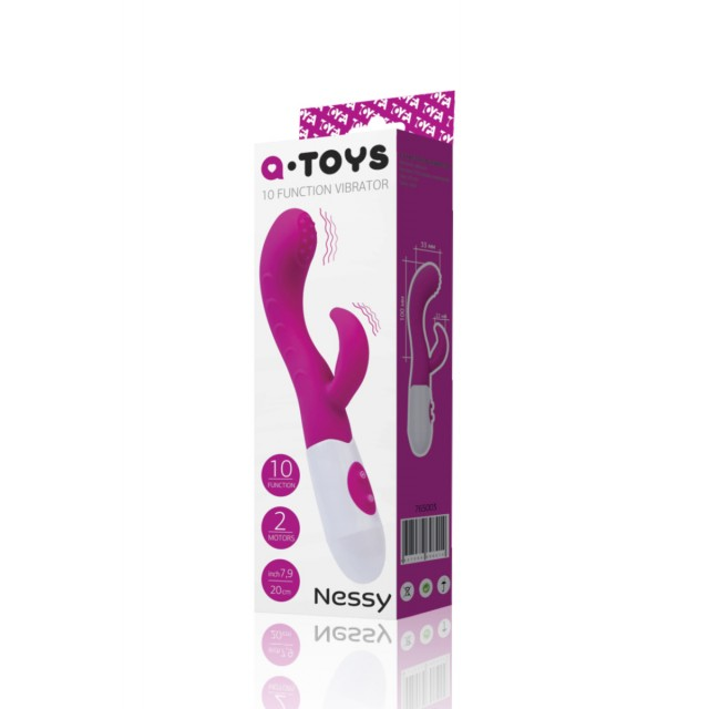 Вибратор TOYFA A-Toys Nessy, Силиконовый, Розово-белый, 20см