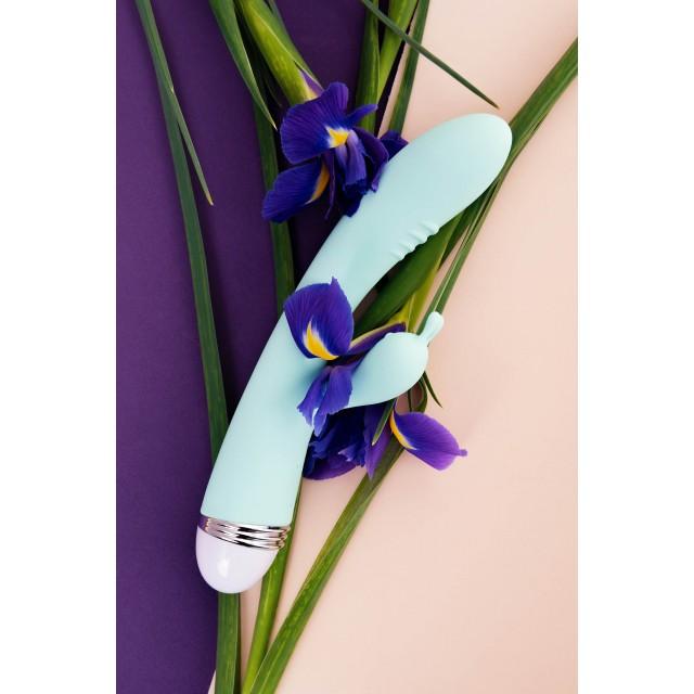Вибратор TOYFA Iris с клиторальным стимулятором, Силиконовый, Мятный, 22см