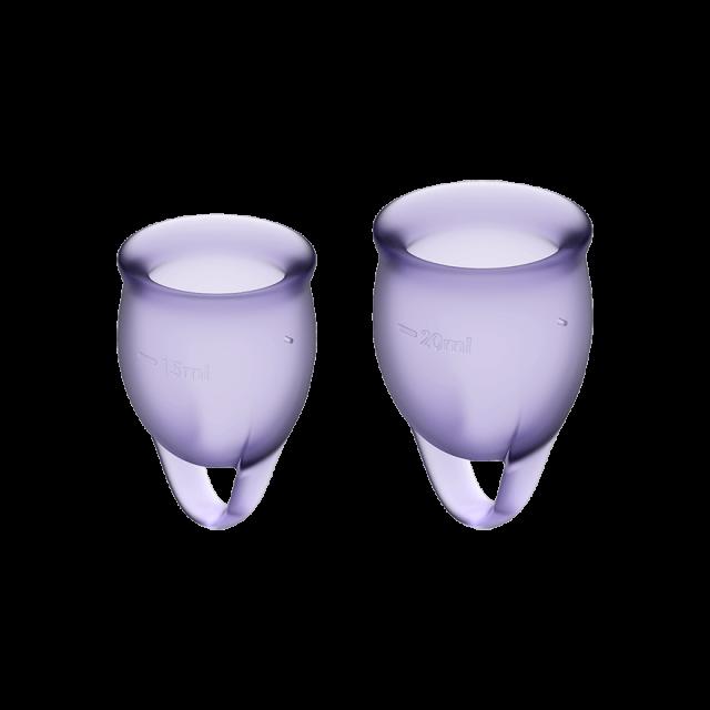 Менструальные чаши, набор Satisfyer Feel Confident, лиловый, 15мл и 20мл