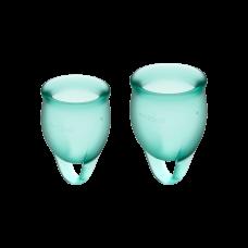 Менструальные чаши, набор Satisfyer Feel Confident, зеленый, 15мл и 20мл