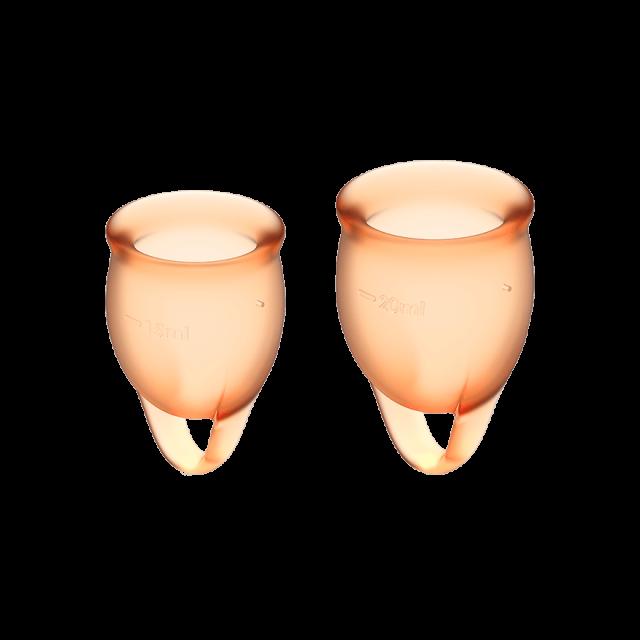 Менструальные чаши, набор Satisfyer Feel Confident, оранжевый, 15мл и 20мл