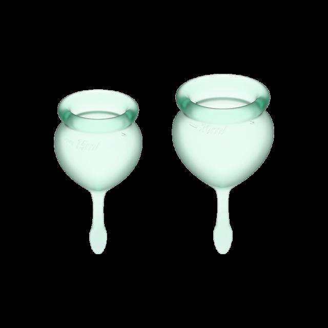 Менструальные чаши, набор Satisfyer Feel Good, салатовый, 15мл и 20мл
