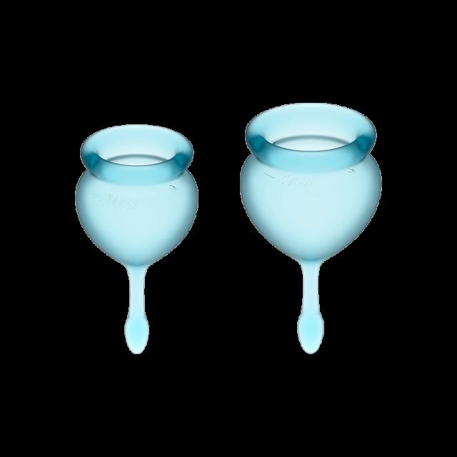 Менструальные чаши, набор Satisfyer Feel Good, голубой, 15мл и 20мл