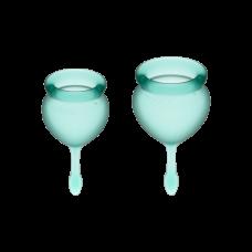 Менструальные чаши, набор Satisfyer Feel Good, зеленый, 15мл и 20мл