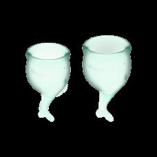 Менструальные чаши, набор Satisfyer Feel Secure, салатовый, 15мл и 20мл