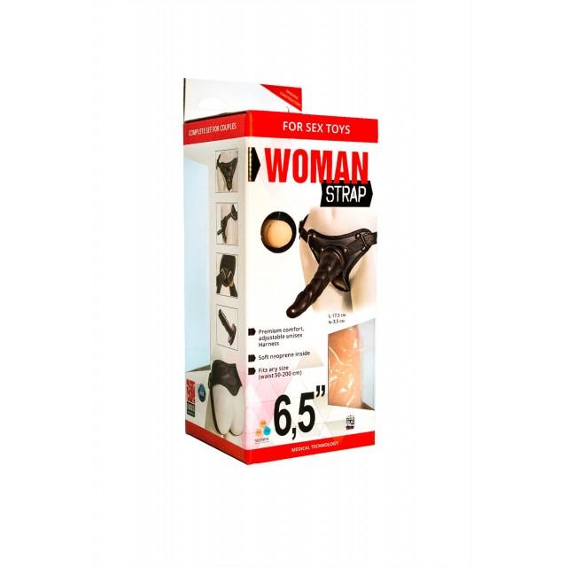 Страпон LoveToy для женщин с поясом Harness, 2 насадки, Neoskin