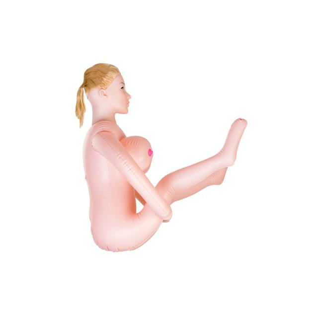 Кукла надувная TOYFA Dolls-X Liliana с реалистичной головой, Блондинка с двумя отверстиями, Кибер вставка вагина–анус