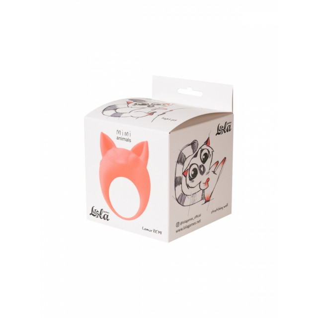 Виброкольцо эрекционное Mimi Animals Lemur Remi Orange, Силиконовое