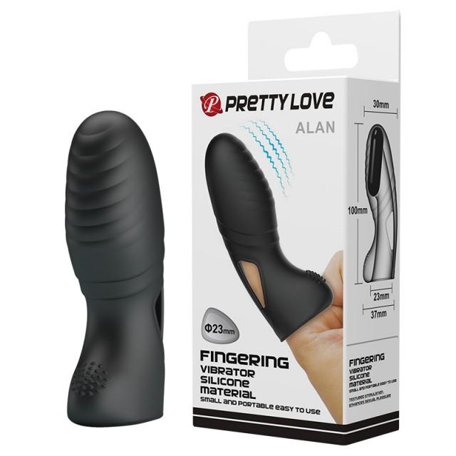 Вибронасадка на палец Pretty Love Alan, Силиконовая, Чёрная