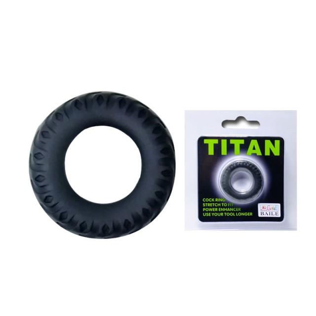 Эрекционное кольцо Baile Titan, Силиконовое, Черное, 4см