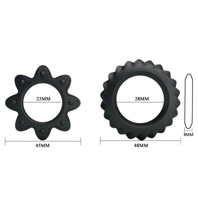 Эрекционных колец набор Baile Ring Flowering 2,3 и 2,8см, Силиконовых, Черных