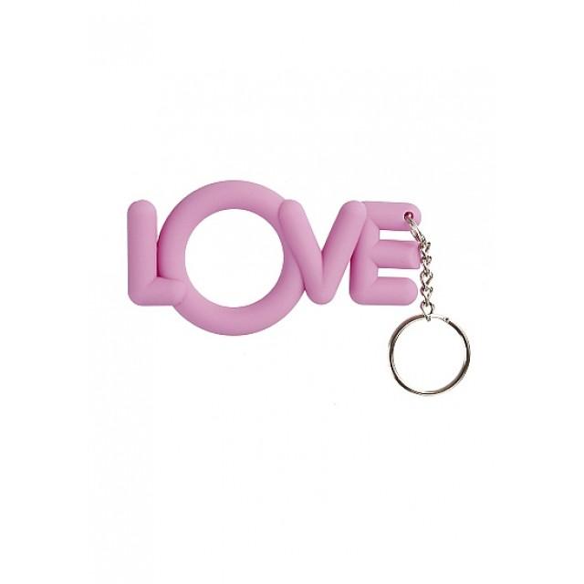 Эрекционное кольцо-брелок сувенирное Cockring LOVE, силиконовое, Розовое
