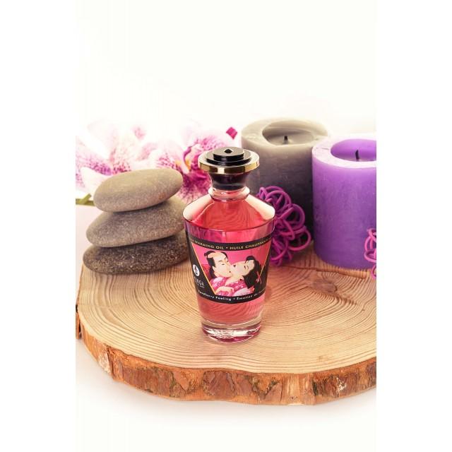 Масло для массажа Shunga Raspberry Feeling, разогревающее, аромат малины, 100мл