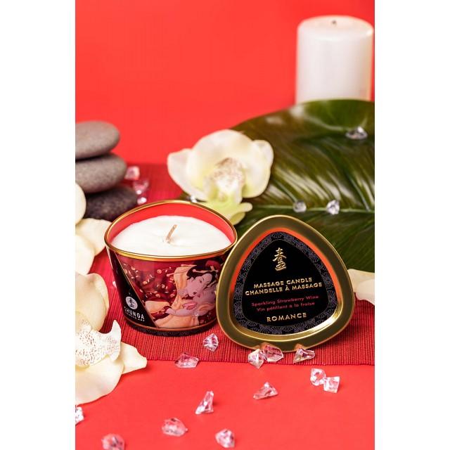 Массажное аромамасло Shunga Romance, аромат клубники и шампанского, 170мл