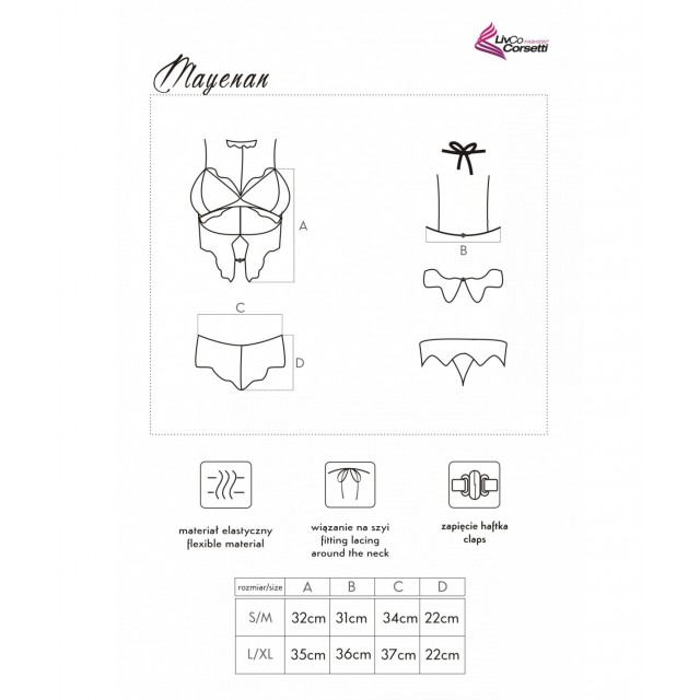 Комплект эротического белья (топ и трусики) LivCo Corsetti Mayenan, Черный