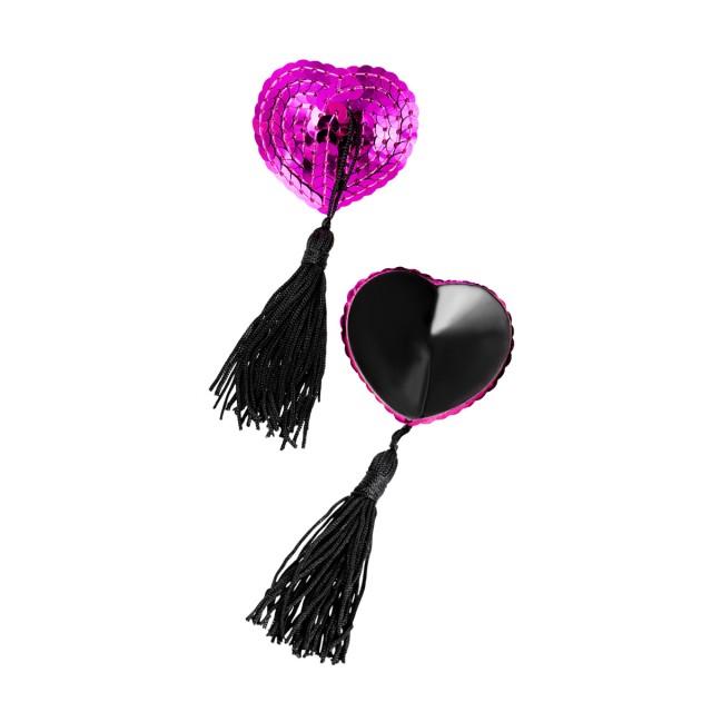 Наклейки на соски (пэстис) Erolanta Lingerie Collection в форме сердец с кисточками, Розово-черные, OS