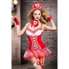 Костюм медсестры Candy Girl Gesabelle (платье, перчатки, стринги, чулки, чокер, головной убор, банты), Красно-белый