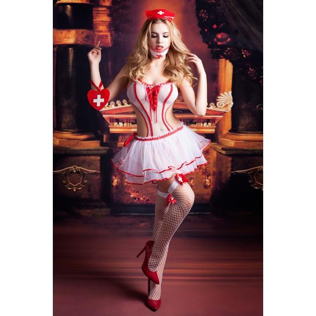 Костюм медсестры Candy Girl Lola (боди, юбка, чулки, головной убор, маска, аксессуар), Бело-красный