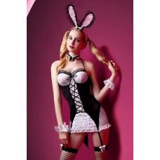 Костюм зайки Candy Girl Charity (платье с пажами, трусы, головной убор, галстук, чулки, манжеты), Чёрно-белый