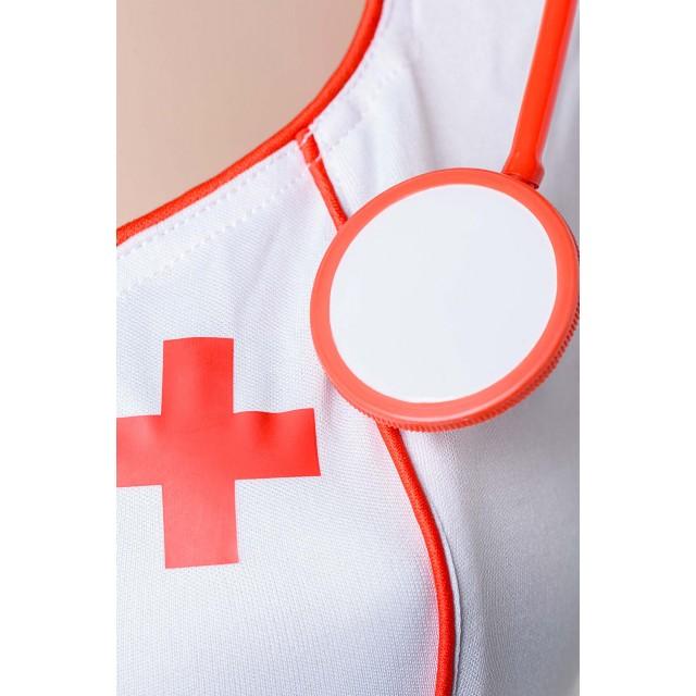 Костюм медсестры Candy Girl Angel (платье, стринги, головной убор, стетоскоп), Белый