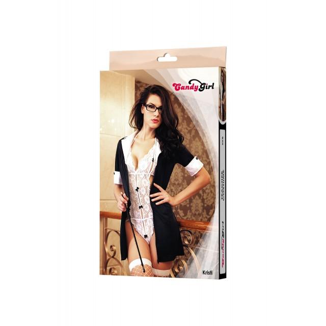 Костюм учительницы Candy Girl Kristi (платье, боди, очки, указка, чулки), Чёрно-белый