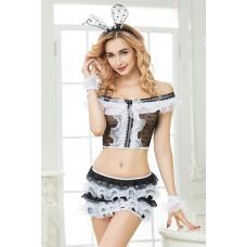 Костюм зайки Candy Girl Cherry (топ, юбка, головной убор, трусы, манжеты), Чёрно-белый