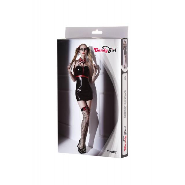 Костюм студентки Candy Girl Chastity (платье, стреп-топ, воротник, стринги, чулки, очки, аксессуары для волос), Чёрно-красный