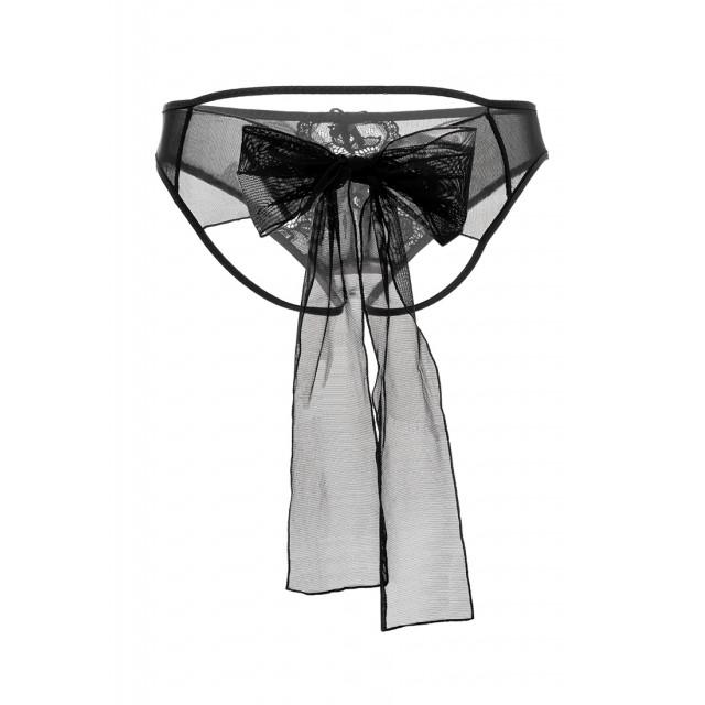 Игривые трусики Erolanta Lingerie Collection из стрейч-сетки с бантом, Чёрные