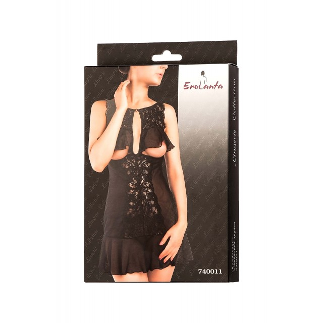 Комбинация Erolanta Lingerie Collection с открытой грудью, Чёрная
