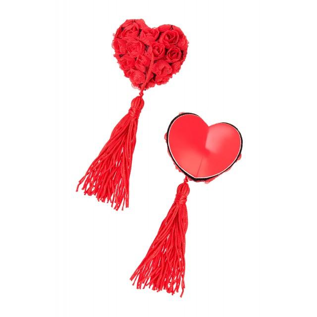 Пэстис Erolanta Lingerie Collection в форме сердец с розами и кисточками, Красные
