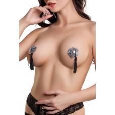 Пэстис Erolanta Lingerie Collection в форме сердец с кисточками, Серебристо-чёрные