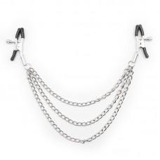 Зажимы для сосков с тремя цепями LoA hard, Серебристые, 29см
