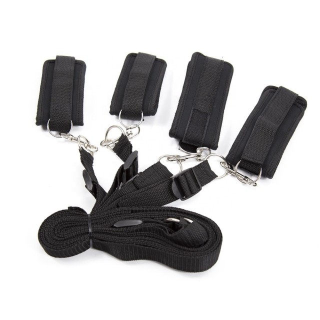 Комплект оков для фиксации на кровати запястья и лодыжек LoA hard, Текстиль, Чёрные