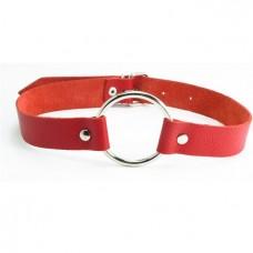 Кляп с кольцом БДСМ Арсенал, Кожаный, Красный, Размер M