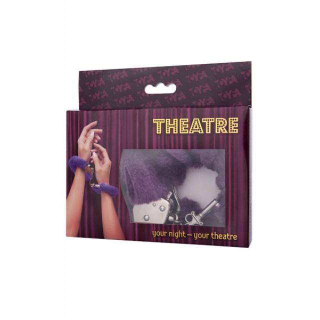 Наручники с мехом Toyfa Theatre, Металлические, Фиолетовые