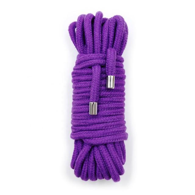 Веревка с металлическими фиксаторами LoA hard, Хлопковая, Фиолетовая, 10м