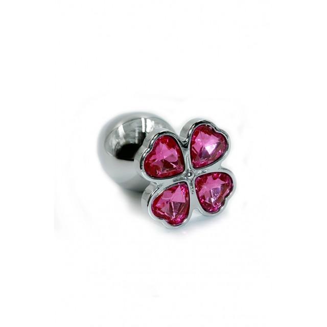 Анальная пробка Kanikule с розовыми стразами в виде клевера, Металл, Серебро, 7см