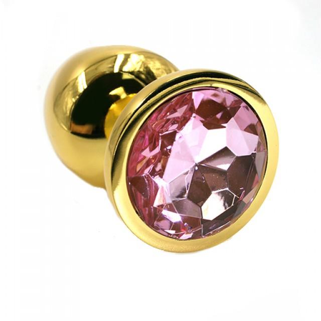 Анальная пробка Kanikule с розовым кристаллом, Металл, Золотая, 6см