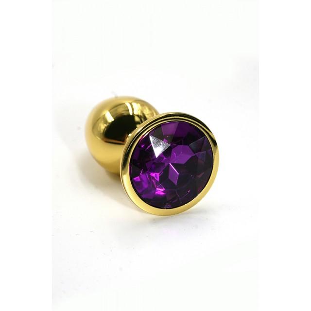 Анальная пробка Kanikule с фиолетовым кристаллом, Металл, Золотая, 6см