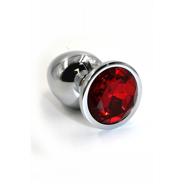 Анальная пробка Kanikule с красным кристаллом, Металл, Серебренная, 7см