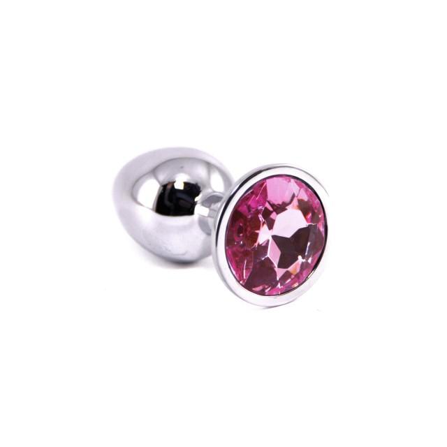 Анальная пробка NLONELY с розовым стразом, Металл, Серебро, 6,5см