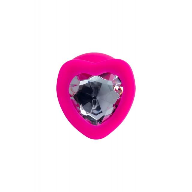 Анальная втулка ToDo by Toyfa Diamond Heart, Розовая, Ø4см