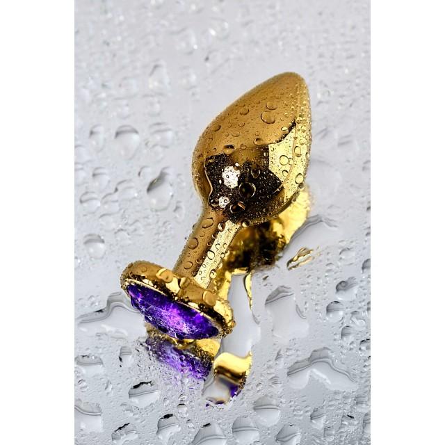 Анальная втулка Metal by TOYFA Золотистая с кристаллом цвета аметист, 8см, Ø3см