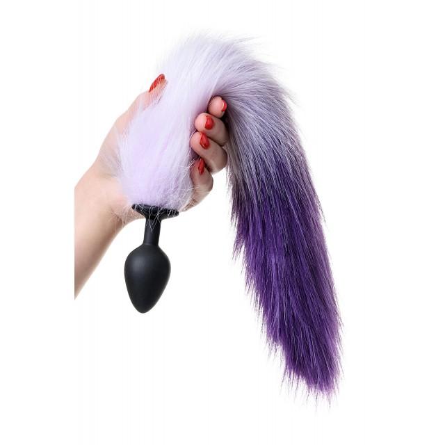 Анальная втулка с бело-фиолетовым хвостом POPO Pleasure, M, Силиконовая, Чёрная, 45см, Ø3,3см