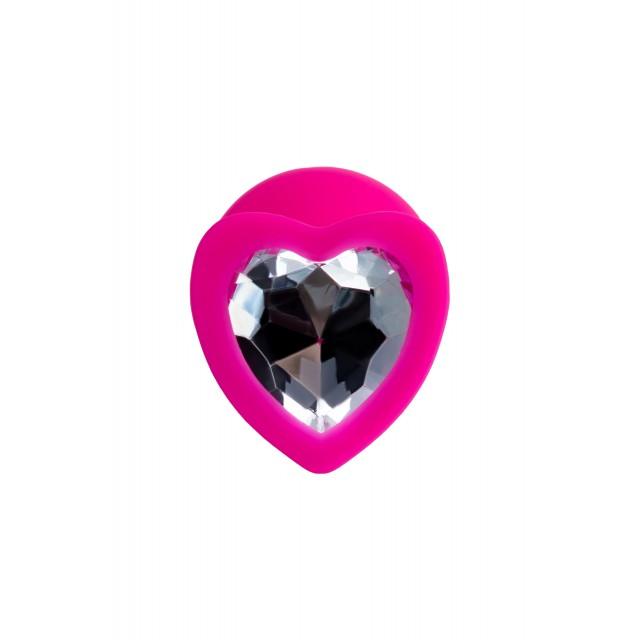 Анальная втулка ToDo by Toyfa Diamond Heart, Розовая, Ø3см
