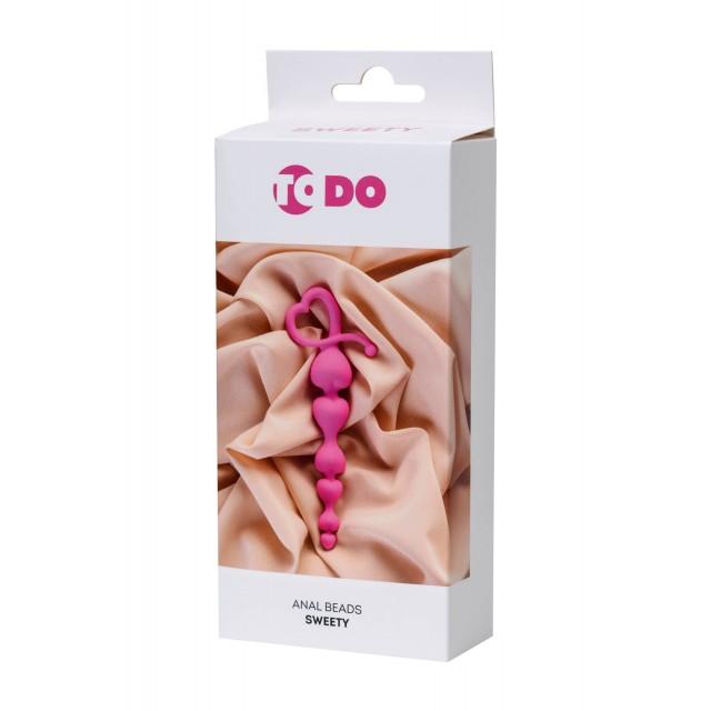 Анальная цепочка ToDo by Toyfa Sweety, Силиконовая, Розовая, 18,5см, Ø3,1см