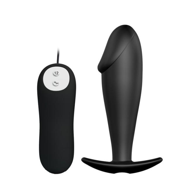 Анальный вибростимулятор Pretty Love, Силиконовый, Чёрный, 10см